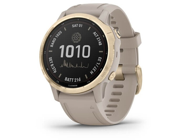 Garmin Fenix 6S Pro Solar GPS Smartwatch, beige/Dorado